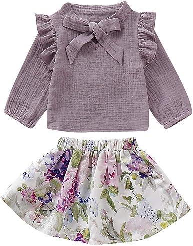 Haokaini Baby Girl Cotton Linen Outfits Camisa de Manga Larga + Traje de Falda Floral para niños pequeños: Amazon.es: Ropa y accesorios