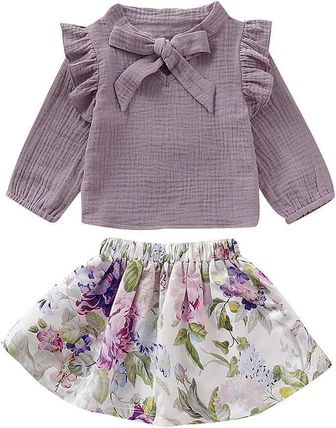 Borlai - Juego de ropa para niña con volantes y camisa de manga ...