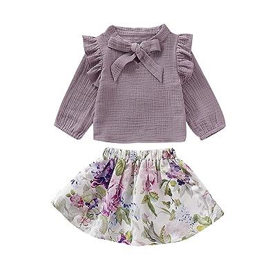 Haokaini Baby Girl Cotton Linen Outfits Camisa de Manga ...