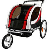 Clevr 2-in-1 collapsible 2-Seater Baby Stroller Jogger / Bicycle Trailer w Pivot Wheel