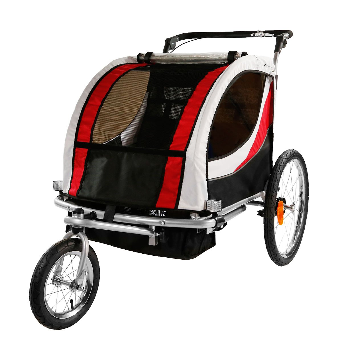 Best Bike Trailer Clevr 3-in-1 Collapsible 2 Seat Double Bicycle Trailer Baby Bike Jogger