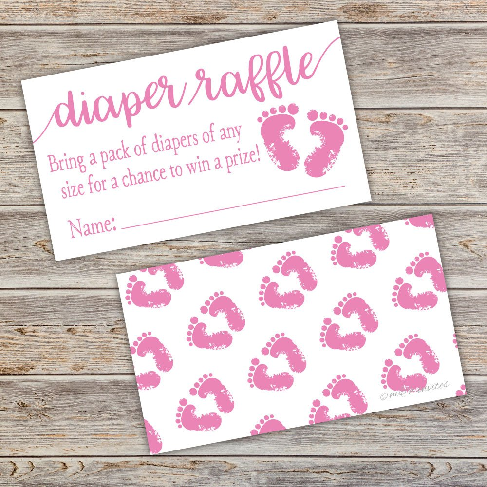 50 Pink Baby Feet Diaper Raffle Tickets - Girl Baby Shower Game by m&h invites (Image #5)