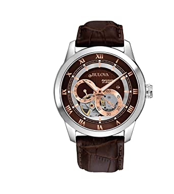 bulova men s designer automatic self winding watch leather strap bulova men s designer automatic self winding watch leather strap brown rose gold dial 96a120