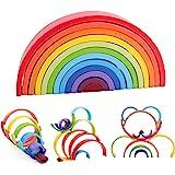 QZMTOY Wooden Rainbow Stacker, Extra Large 12 Pcs Stacking Game, Nesting Puzzles Building Blocks Educational Toys, Shape Matc