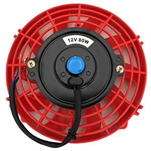 Upgr8 Universal High Performance 12V Slim Electric Cooling Radiator Fan With Fan Mounting Kit (7 Inch, Red)