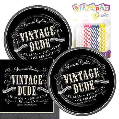 Amazon.com: Vintage Dude tema platos y servilletas sirve 16 ...