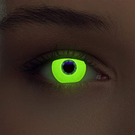 """Luminoso (debajo luz negra) UV lentillas de colores amarilla relumbrar costume lentes amarillas sin dioprtías + gratis caso de lente """"Glowing Yellow"""