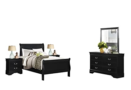 Amazon.com: Modern Louis Philippe 5PC Bedroom Set Full Sleigh Bed ...