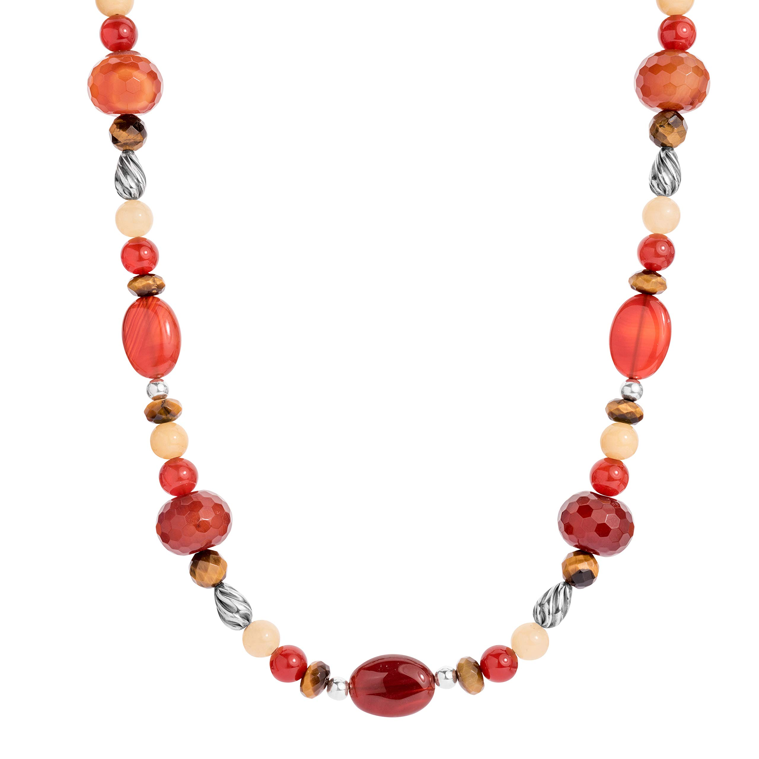 American West Sterling Silver Orange Carnelian, Yellow Citrine, Tiger's Eye and Smokey Quartz Gemstone Beaded Necklace 20 to 23 Inch by American West