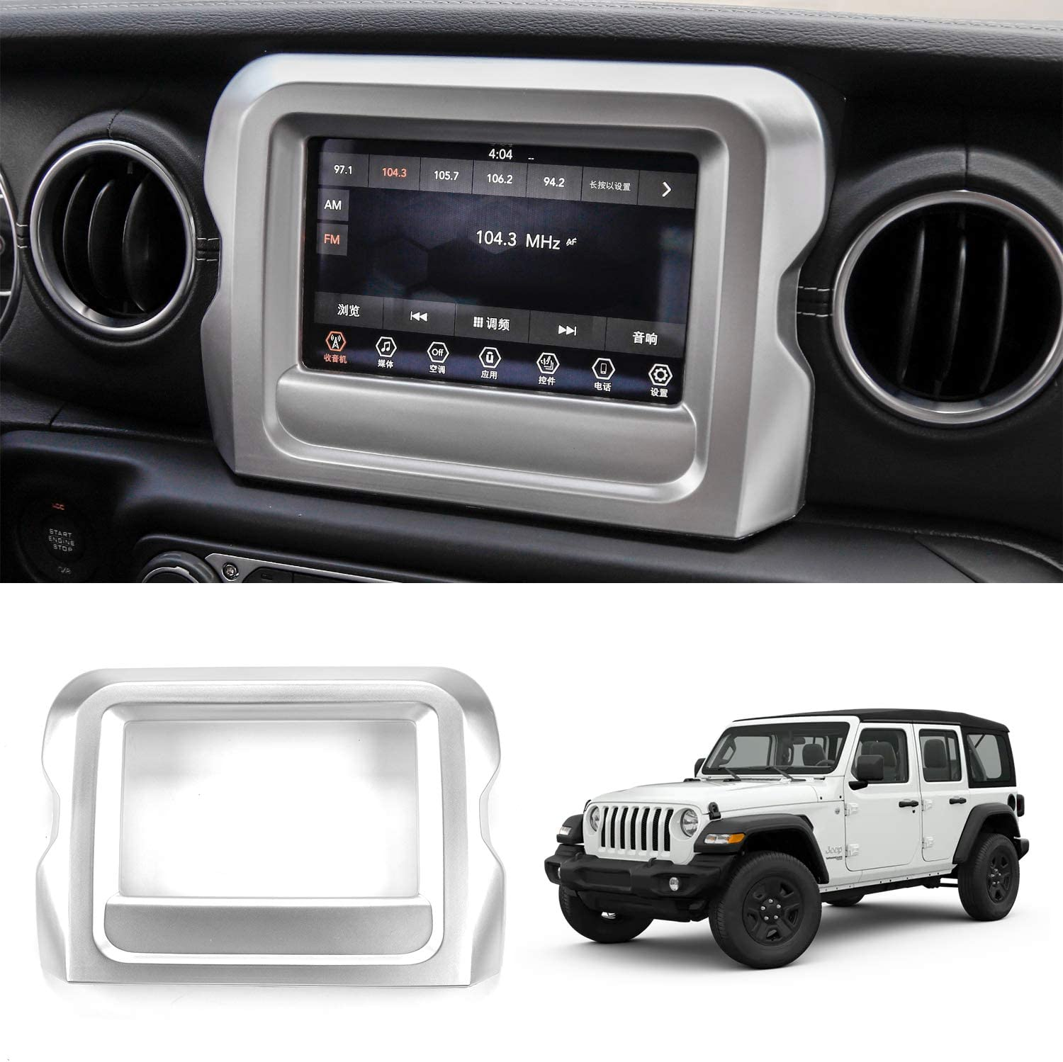 RT-TCZ GPS Navigation Panel Frame Trim Cover Decoration 7 inch Car Accessories Carbon Fiber ABS for Jeep Wrangler JL 2018 2019 2020 Rubicon Silver