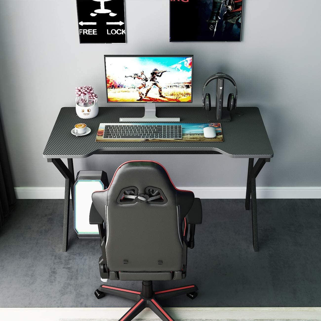 Amazon Com Sogespower Gaming Desk 47 Inches Home Office Computer Table Gamer Desk Splj 1909 120 Kitchen Dining