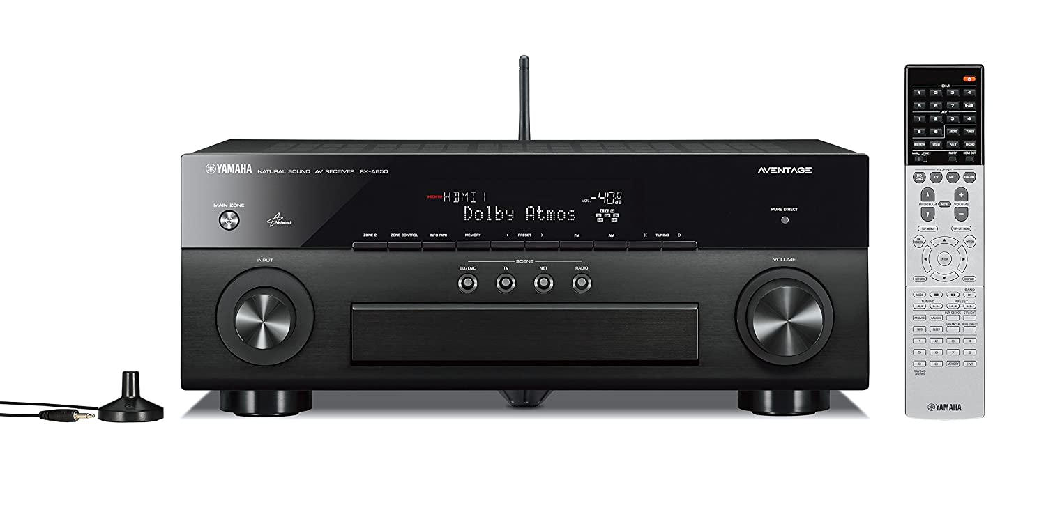 Yamaha RX-A850 7.2-Channel MusicCast AV Receiver with Built-In Wi-Fi and Bluetooth (Black), Works with Alexa