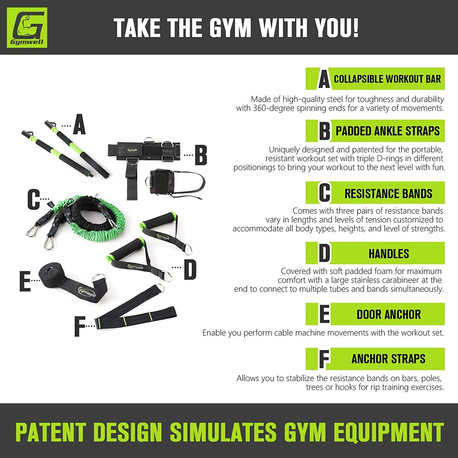 Gymwell Portable Resistance Workout Set, Total Body Workout Equipment for Home, Office or Outdoor with 3 Sets of Resistance Bands (Green - Full Gym) by Gymwell (Image #2)