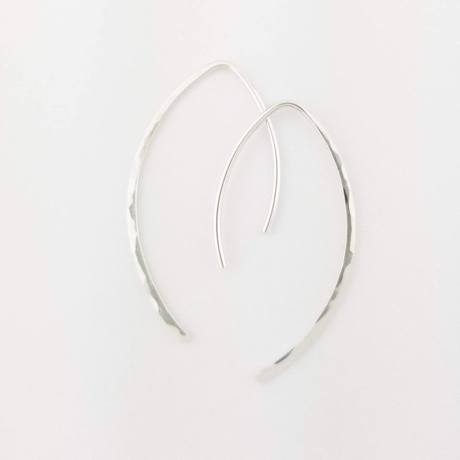 "1"" Thin Sterling Silver Hammered Threader Earrings Open Hoop 20 Gauge (.8mm)"