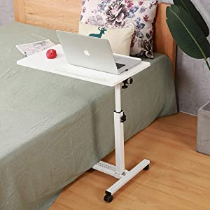 Rolling Laptop Table Tilting Overbed Table with Wheels Overbed Desk Rolling Laptop Stand Rolling Laptop Desk with Wheels (White)