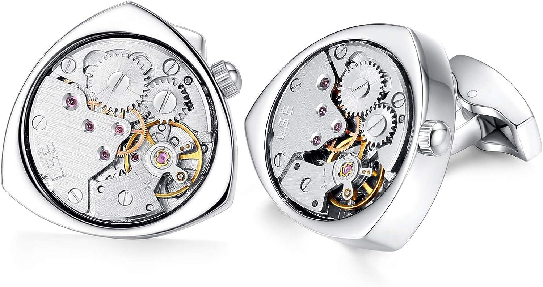 HONEY BEAR Gemelos Reloj relojería Mecanismo Steampunk de relojería para Hombre Camisa Triángulo, Acero Inoxidable Regalo de Boda de Negocios con Caja