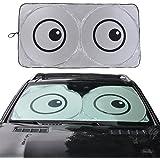 "BURRANTON Car Windshield Sunshade with Eye Design - Jumbo Sun Shade for Car windshield Keeps Vehicle Cool-UV Ray Protector Sunshade(Large/63""x33.9"")"