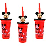 Zak Designs 4-Pack Disney Minnie Mouse 16oz Sports Tumbler Cups with Pink Lids /& Flex Straws