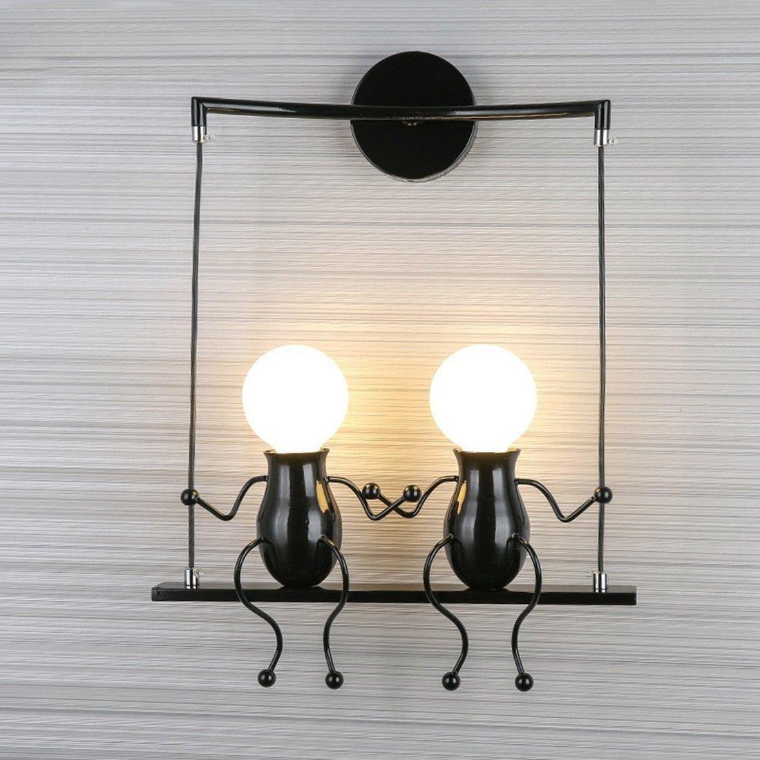 HanLinLight - Lámpara mural de aplique con un simpático y moderno diseño de columpio - Para 2 bombillas con casquillo E27 - Ideal para habitación infantil - Potencia:40 W