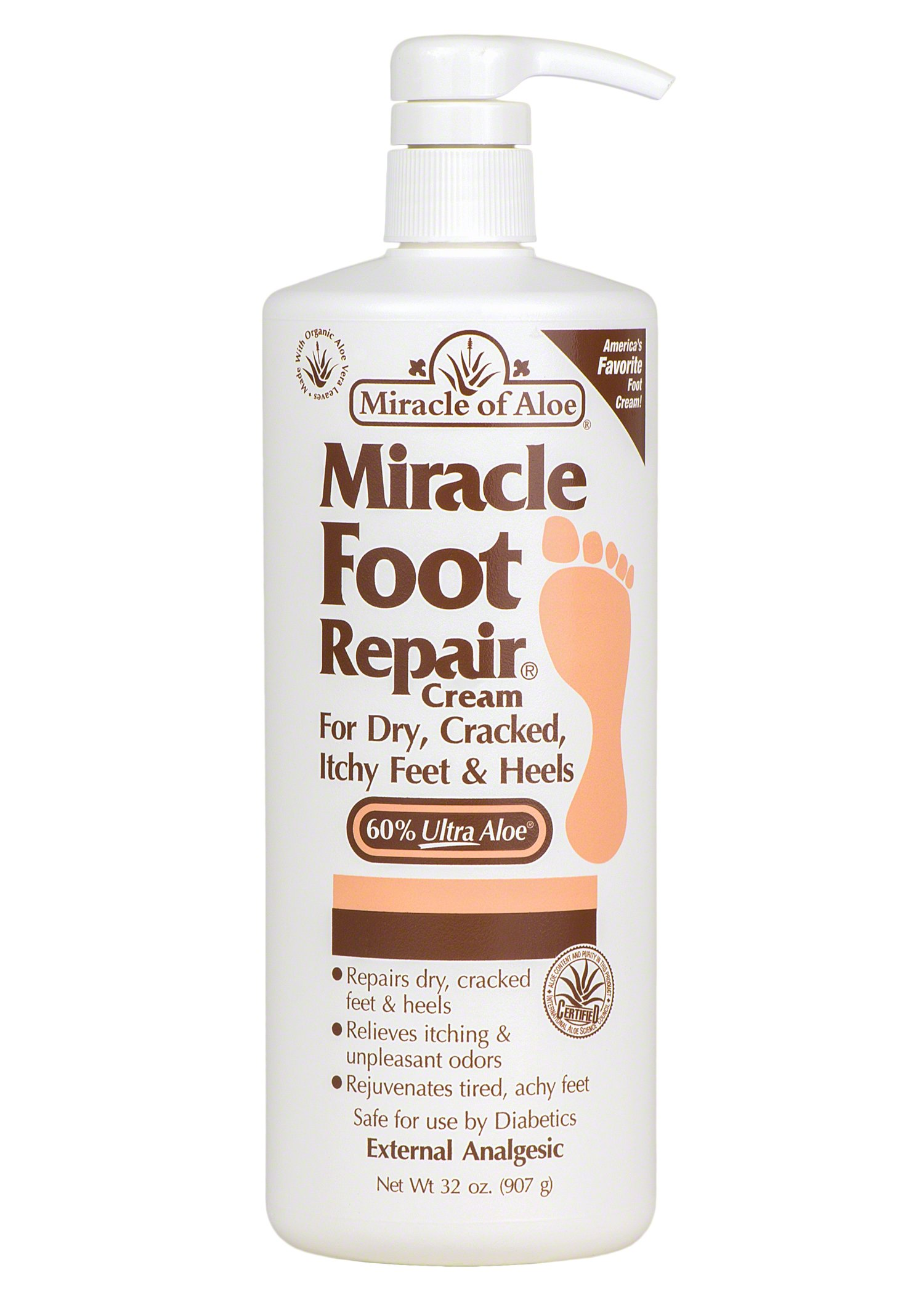 Miracle of Aloe, Miracle Foot Repair Cream with 60% UltraAloe 32 ounce bottle with pump
