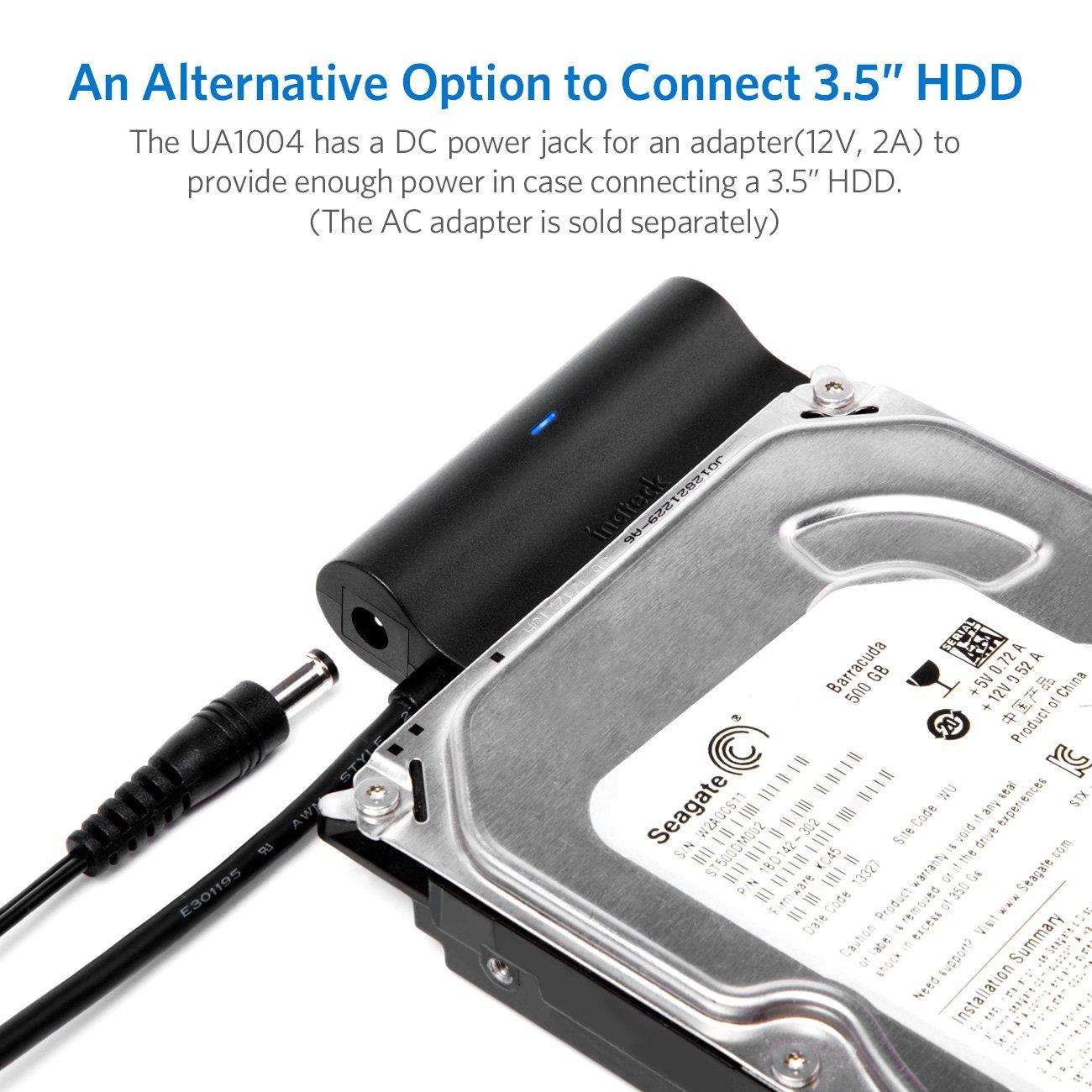 UA1004 Compatible con UASP,Negro Inateck Adaptador de USB 3.0 a SATA III para Discos Duros HDD SDD SATA I II III de 2.5