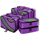 6 Set Packing Cubes,3 Various Sizes Travel Luggage Packing Organizers Purple