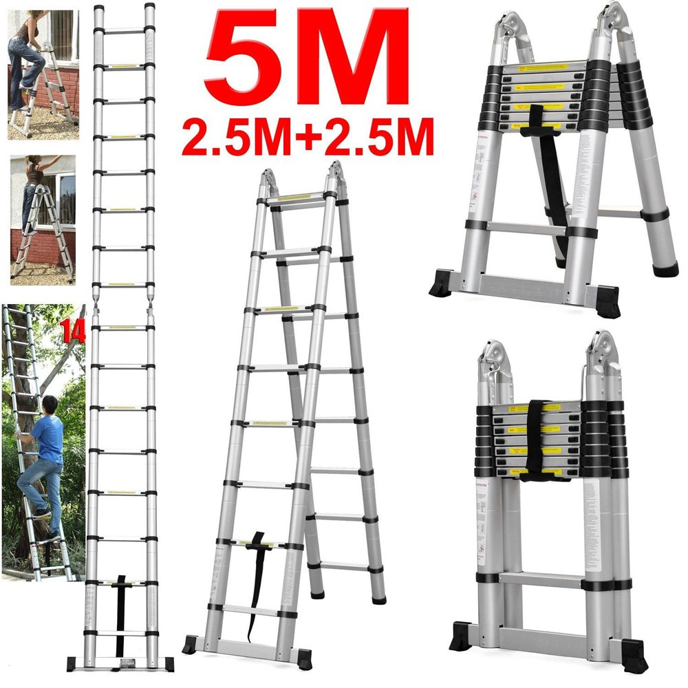 5.0M Multi-Purpose Aluminium Telescopic Ladder Extension Extendable ...