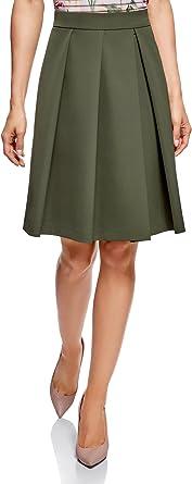 oodji Ultra Mujer Falda Acampanada con Pliegues: Amazon.es ...