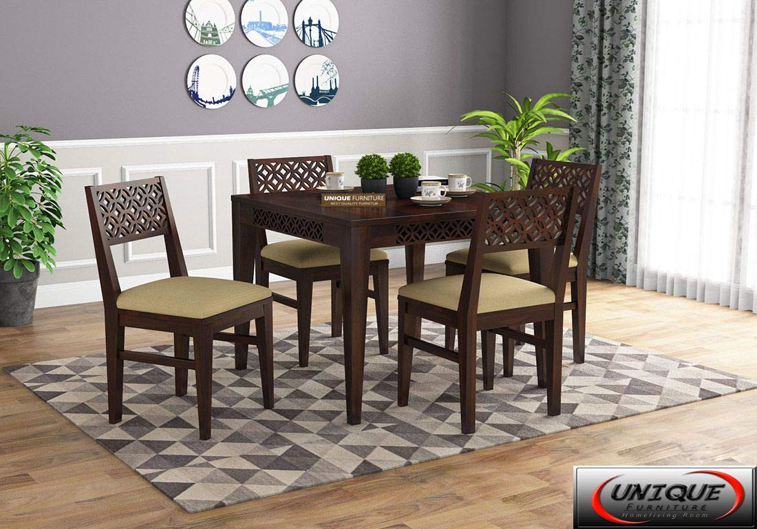 Unique Furniture Sheesham Wood Dining Table 4 Seater Set Dining Room Furniture Solid Wooden 4 Seater Dining Table Home Dining Living Room Solid Wood Dining Table Set Furniture Walnut Amazon In Home