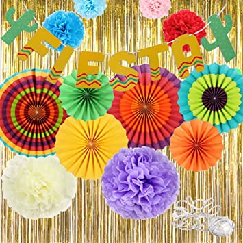 Amazon Com Fiesta Decorations Gold Fringe Streamers Backdrop