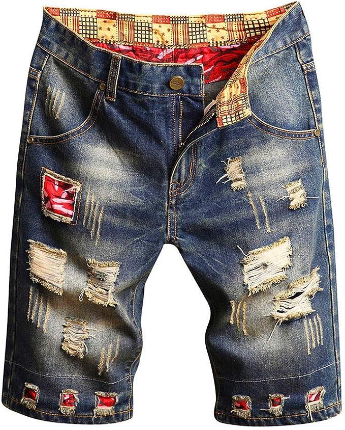 SELX Men Vintage Washed Slim Fit Hole Distressed Denim Jeans Short