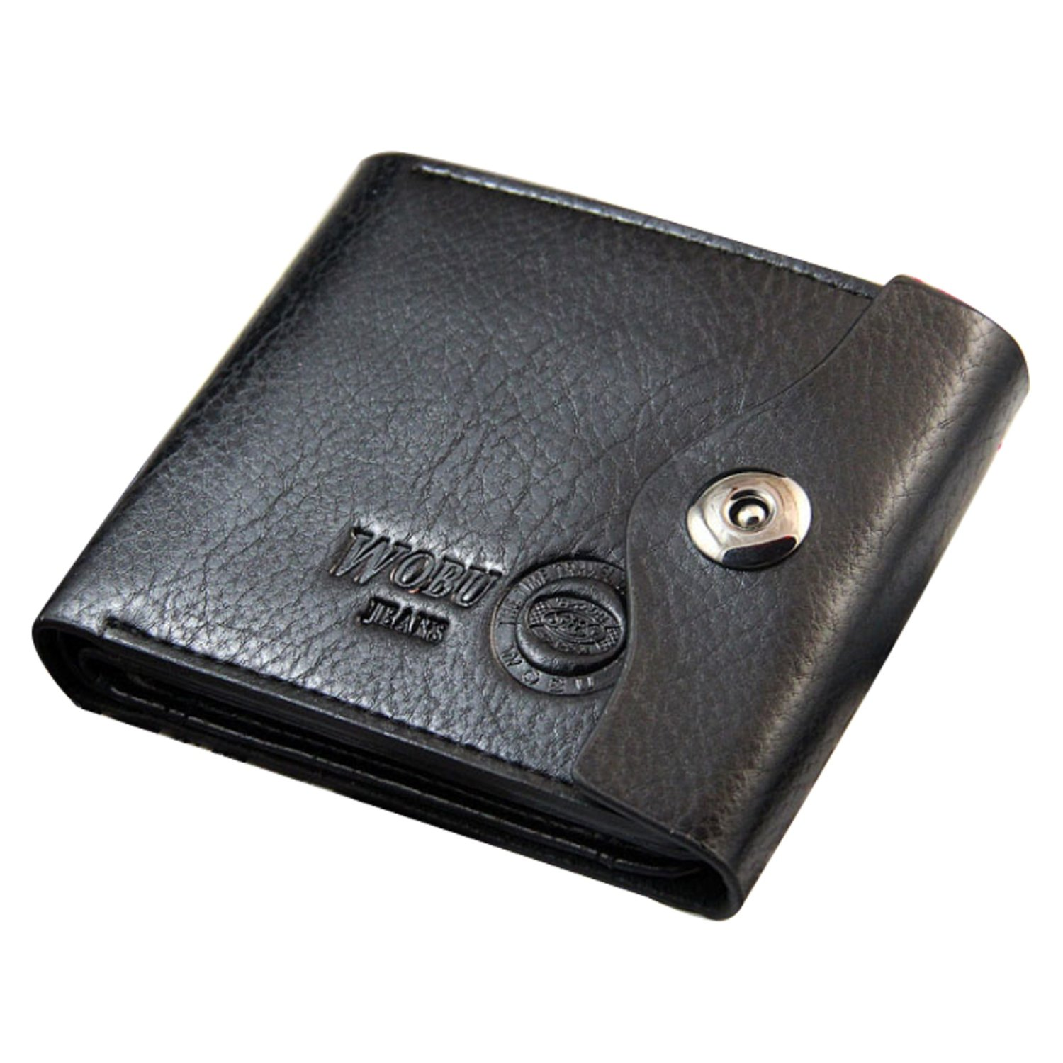 BININBOX New Mens Short Bifold Suction Button Leather Wallet Purse ID/Card Clutch Holder