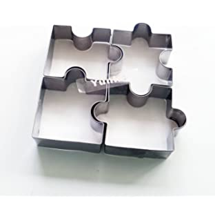 Yunko Complete The Puzzle Cookie Cutter Stainless Steel Fondant Cutter,  4Pcs Set