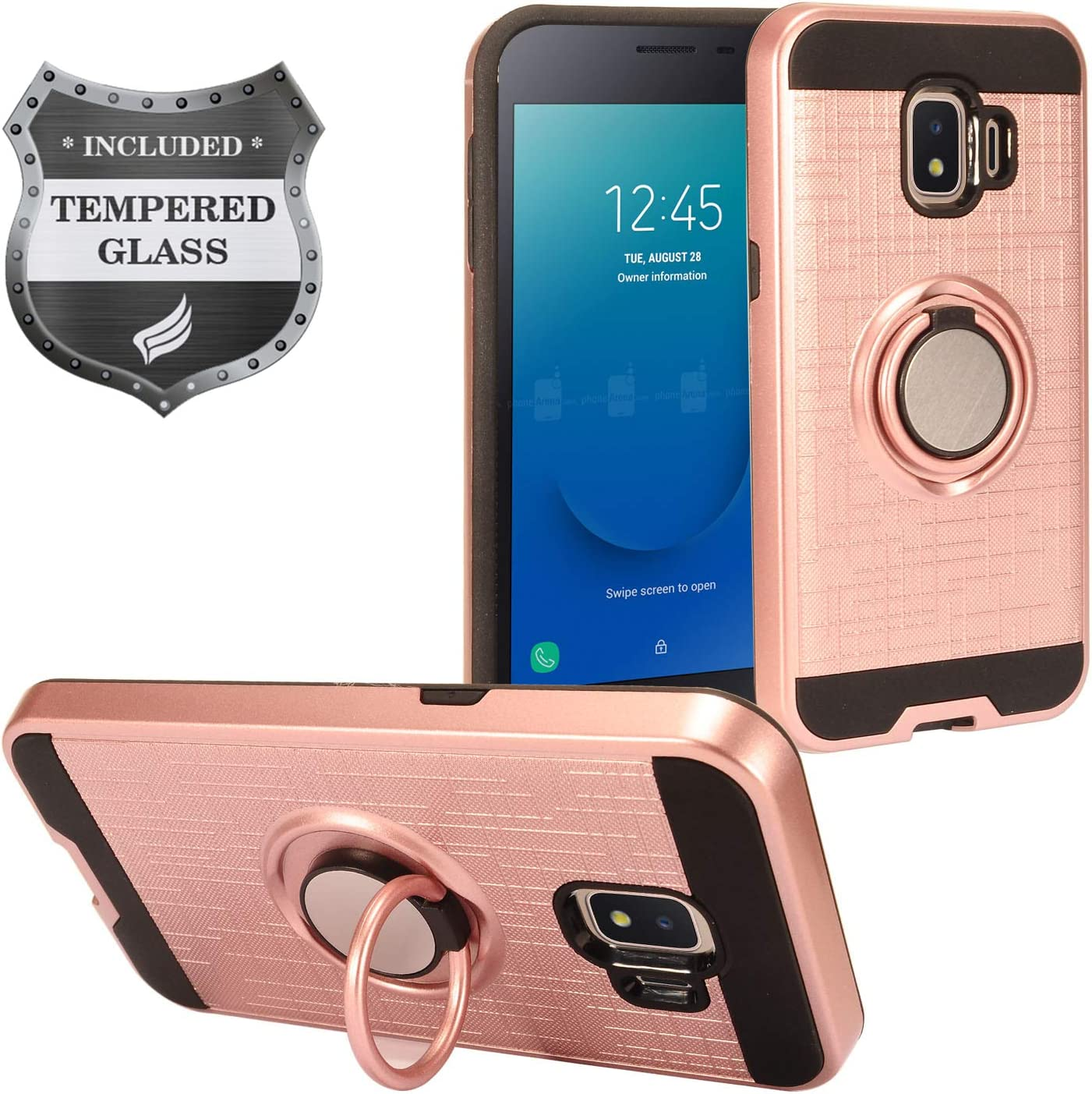 Eaglecell - Compatible with Samsung Galaxy J2 (MetroPCS), J2 Pure, J2 Dash, J2 Shine, J2 Core (2018), SM-J260 - Hybrid Hard Case w/Ring Stand + Tempered Glass Screen Protector - RS2 Rosegold