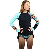 Parallaxx Women Surf Rash Guard Two Piece Long Sleeve Pattern Colour Tankini Swimsuit