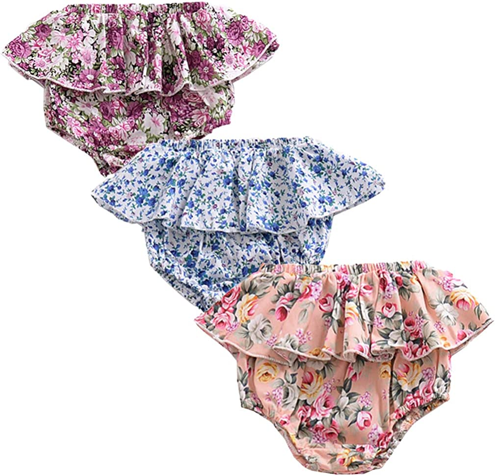 3PC Shorts Set Newborn Baby Girls Boys PP Pants Cotton Linen Blend Cute Floral Bloomer Triangle Shorts