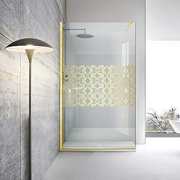 Modern Glass Art Leroy - Mampara de ducha (cristal templado de 8 mm, acabado en latón dorado), diseño de tulipanes dorados, dorado: Amazon.es: Bricolaje y herramientas