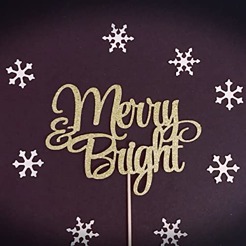 merry and bright cake topper merry christmas cake topper santa cake topper glitter - Christmas Cake Decorations Amazon