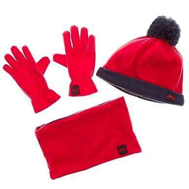 1233a19c2756 KIABI Ensemble bonnet + écharpe snood + gants rouge bleu marine 8 12 ...