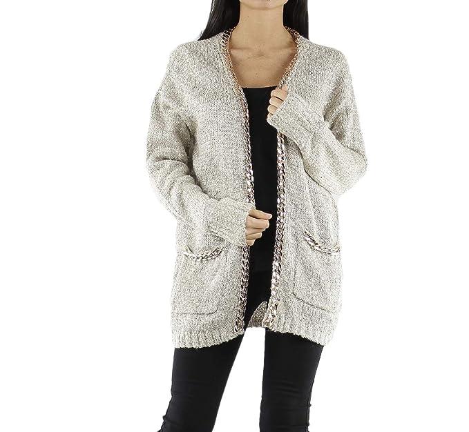 taille 40 9e44a 53f97 Lyse® Gilet Femme en Tricot Ouvert avec Chaine Dorée (5 Coloris)
