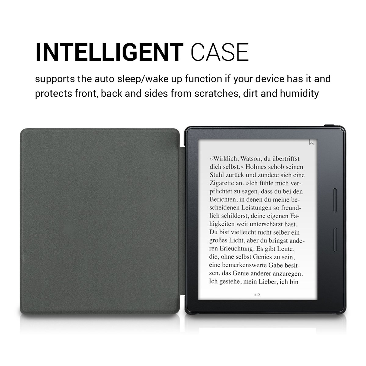kwmobile Case for Amazon Kindle Oasis 8th Generation (2016) - Book Style PU Leather Protective e-Reader Cover Folio Case - White Black by kwmobile (Image #5)