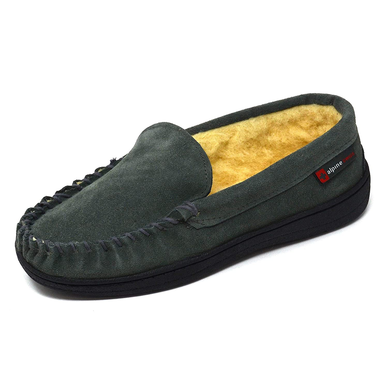alpine swiss Yukon Mens Genuine Suede Shearling Slip On Moccasin Slippers By Alpine Swiss