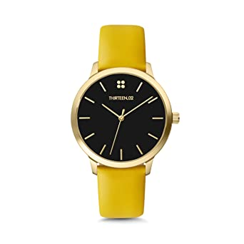 1302 Watches for Women, Gold Leather Band Watch, Black Dial Watch, Womens Watches