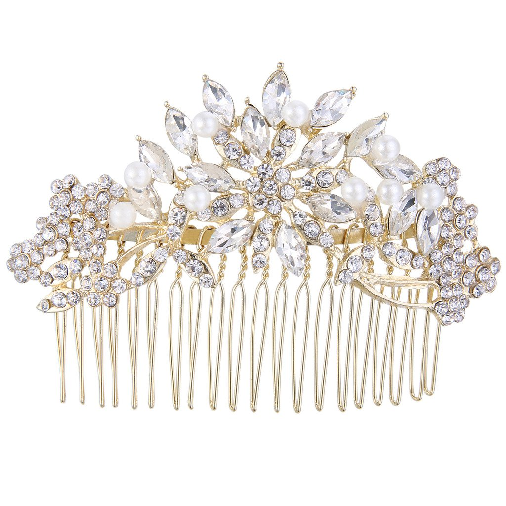 Ever Faith Gold-Tone Austrian Crystal Cream Simulated Pearl Flower Leaf Hair Comb Clear A13537-3