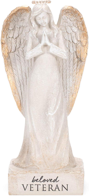 Beloved Veteran Whitewash Angel 9.5 x 4.5 Resin Decorative Outdoor Statue Figurine