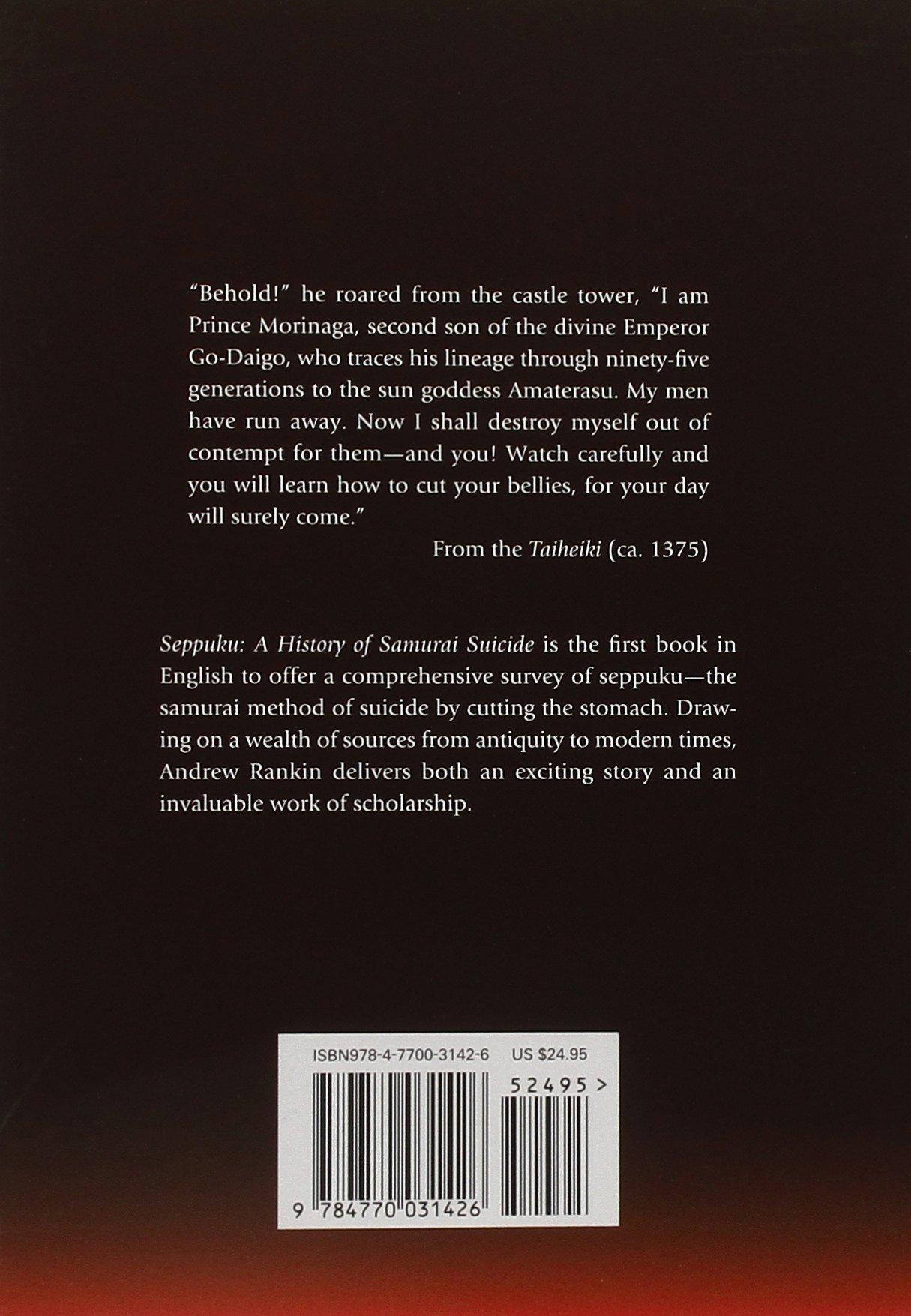 Seppuku: A History Of Samurai Suicide: Andrew Rankin: 9784770031426:  Amazon: Books