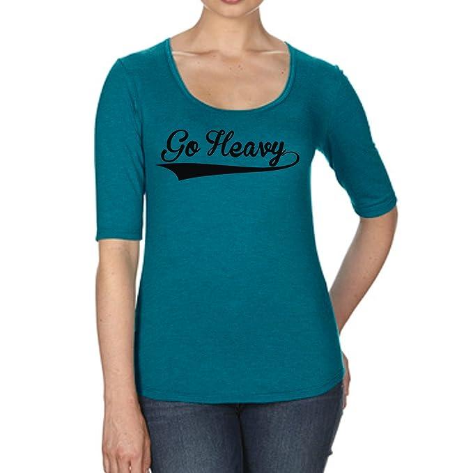 GO HEAVY de La Mujer Tri -Blend Camiseta - Retro Logo - Turquesa: Amazon.es: Ropa y accesorios