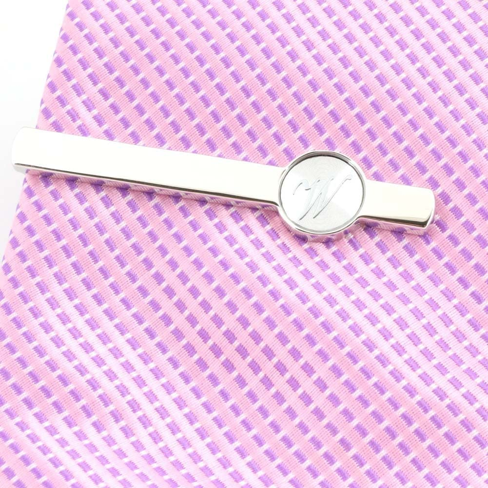 GWD Mens Fashion Necktie Tie Clips Bar Silver Initial Letter A-Z