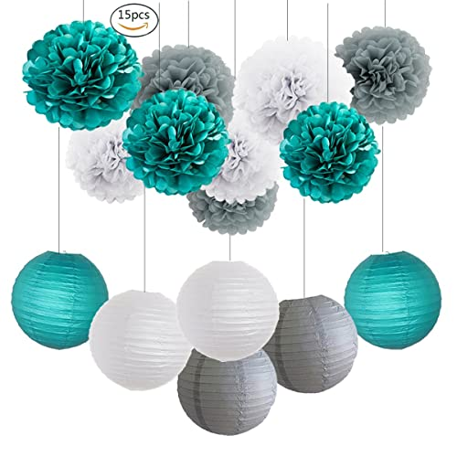 heartfeel teal bridal shower decorations 15 pcs of white teal grey tissue paper pom pom