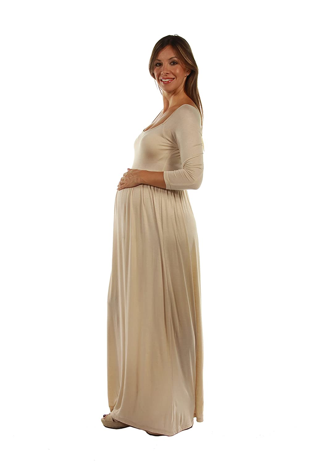3df980edc0baf 24seven Comfort Apparel Womens Maternity Long Sleeve Empire Waist Square  Neckline Maxi Dress - Made in ...